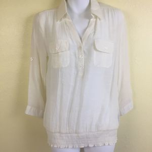 Anthropologie Mine Sheer Top M E55